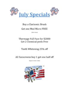 Skin Care Specials - July 2016