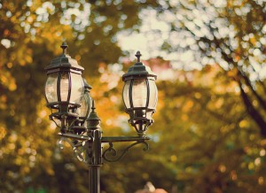 vintage style picture with old street lamp in the park