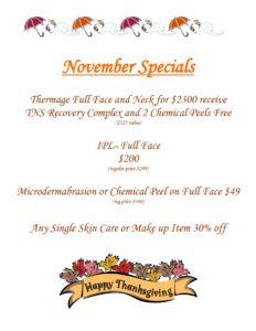 November 2016 Skin Care Specials